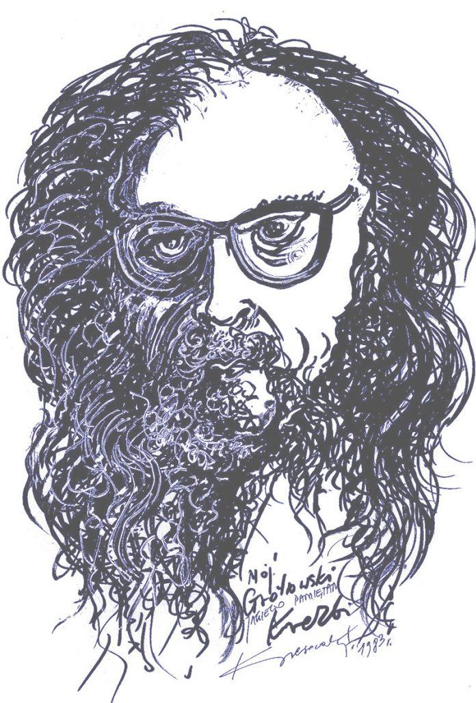 Portret 1983r. Jerzego Grotowskiego, herbu Rawicz, wykonał Zbigniew Kresowaty