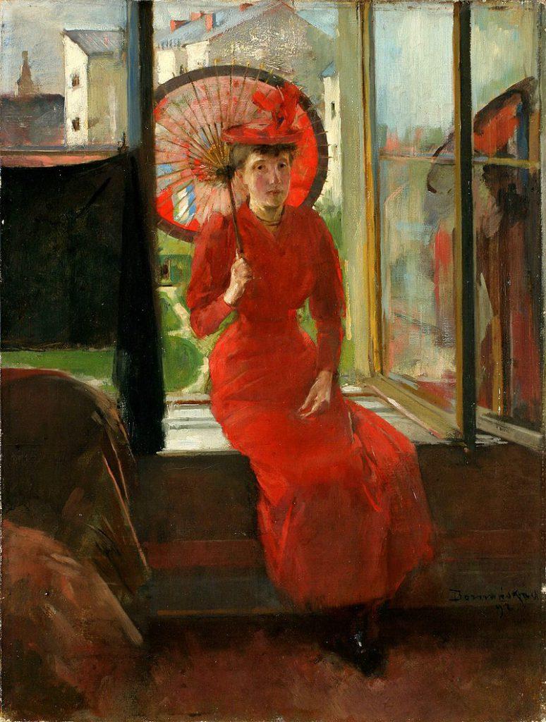 Kobieta z japońską parasolką