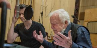 """Piotr Bajtlik i Marian Opania podczas nagrania spektaklu """"Pułapka"""" / fot. Wojciech Kusiński"""
